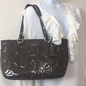 Gray COACH patent Leather Handbag